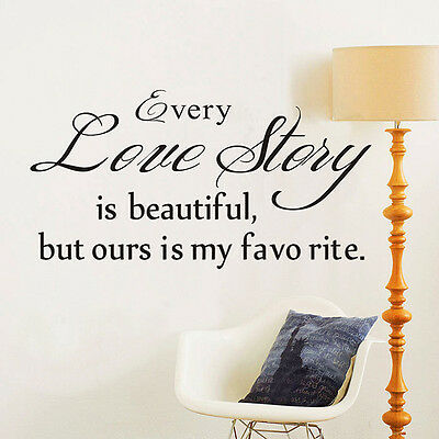 "Quote Home Decor 'Love Story""Mural Removable Decal Room Wall Sticker Vinyl Art"