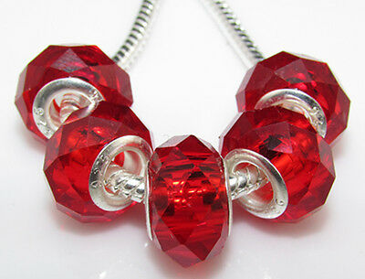 5pc Silver Core Hot Red Faceted Murano Crystal Glass Bead Fit Charm Bracelet H21