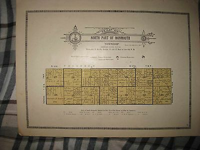 Antique 1921 Monmouth Township North Part Shawnee County Kansas Map Rare Superb