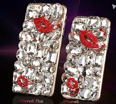 """NEW DIY Large Crystal red Lips Case Cover Skins for Apple iPhone6 4.7"""" 。"""