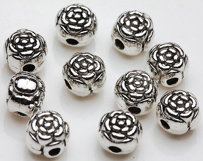 25Pcs Tibet silver flower Vintage Interval bead Pendant DIY Accessories 6mm