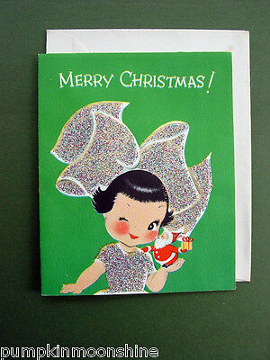 #331- Vintage Unused Norcross Betty Bow Xmas Greeting Card, Glittered, Adorable
