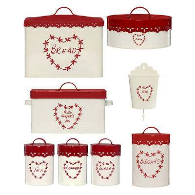 5 Or 7 Piece Red Cream Kitchen Tea Coffee Sugar Bread Cake Tin Storage Canisters