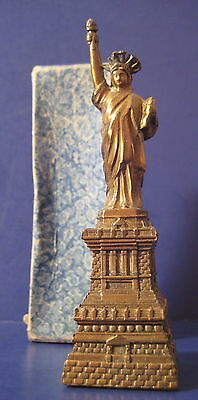 Vintage Souvenir Metal Building Statue of Liberty Original Box 4.5""