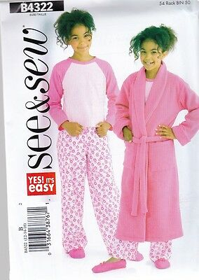 Butterick Sewing Pattern See & Sew Girls Robe Top & Pants Sizes 7 - 16   B4322