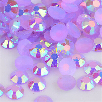 NEW 500pcs 4mm purple ab Jelly drill beads flat back Scrapbooking for crafts