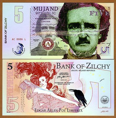 Private Issue, 5 Zilchi, 2015,  Edgar Allan Poe, UNC > Limited Issue POLYMER