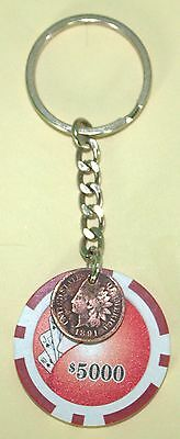 Unique Handmade Casino Chip Style Key Chain featuring 1891 USA Lucky Penny!