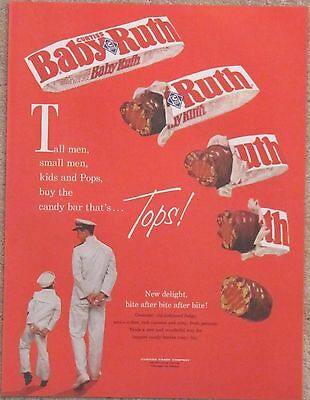 BABY RUTH 1961 Advertisement AD - Navy Sailor - Candy Bar That's Tops