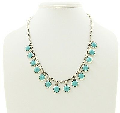 LUCKY BRAND Turquoise Stone Drop Charm Silver-Tone Collar Necklace $55