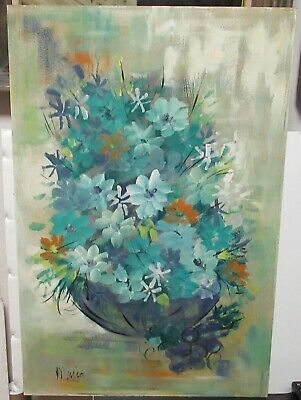Maria Vintage Oil On Board Floral Flower Vase Painting