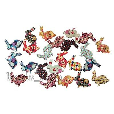 50x Mix Colour Cute Rabbit Wooden Sewing Buttons Scrapbooking Jewelry Crafts BS