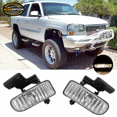 Fits Sierra Yukon XL Front Chrome Housing Clear Lens Fog Lights Lamps 881 Bulbs