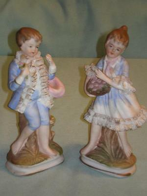 Vintage ENESCO Little Boy Blue And Girl Figurines Hand Painted Hard Ribbon Trim