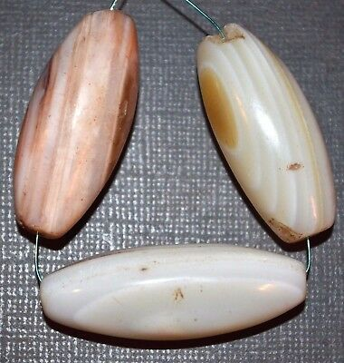 Antique White Banded Agate Stone Beads From Yoruba Tribe Nigeria, African Trade