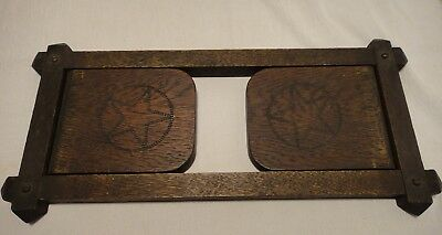 Arts & Crafts Movement Era Oak Folding Bookends Star Design
