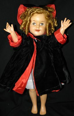 VINTAGE/ANTIQUE SHIRLEY TEMPLE DOLL ORIGINAL CLOTHES RED RIDING HOOD CAPE/HAT