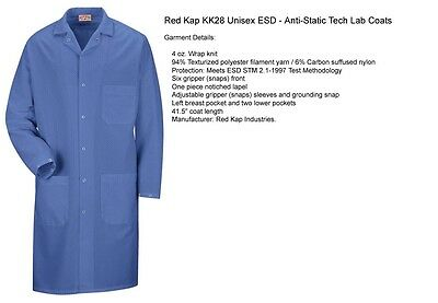 ESD Anti-Static Premium Lab Jacket Coat Unisex KK28 Red Kap Blue or White