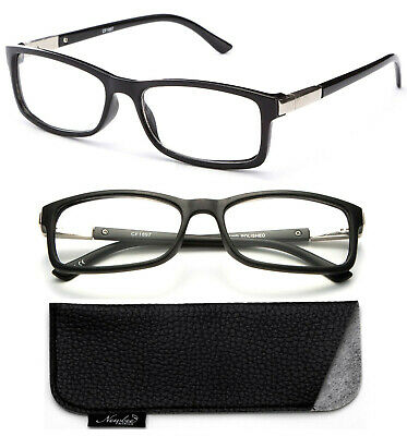 Classic Black Frame with Non Prescription Clear Rectangular Lens Unisex Glasses