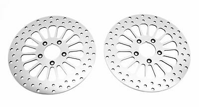 "Two Chrome 11.5"" Super Spoke Front Brake Dual Disk Disc Rotor Pair Rotors Harley"