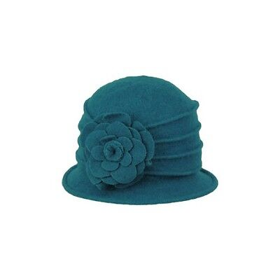 New Peacock Teal Ladies Vintage Gatsby Style 57cm 100% Wool Cloche WINTER HAT