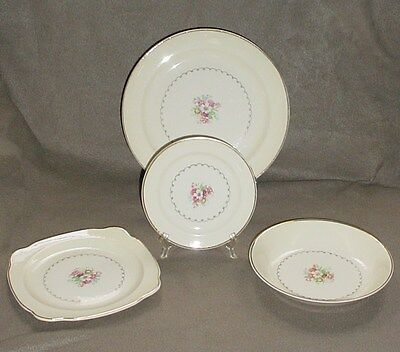 PADEN CITY POTTERY 4 PIECE PLACE SETTING, DINNER-SALAD-SQUARE PLATE & BOWL