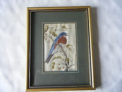 Cash's Woven Silk Picture Eastern Bluebird Jacquard Loom Artistry