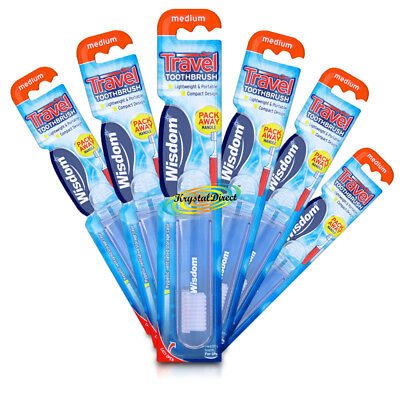 6x Wisdom Travel Toothbrush Brush Ideal For Holiday Business Trips & Camping