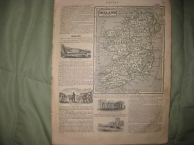 Superb Antique 1844 Ireland France Spain Portugal Morse Map W Fine Art Engraving