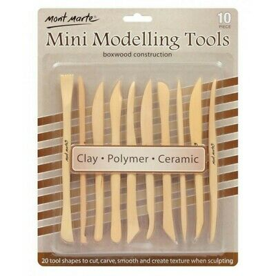 Mont Marte Mini Modelling Tools Boxwood 10pce Great for Use with Polymer Clay