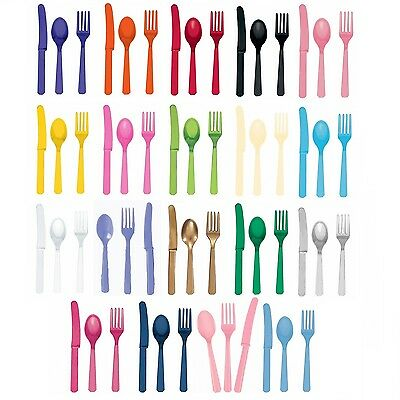 24 Piece ASSORTED Plastic CUTLERY (Amscan) (Birthday/Party/Tableware)