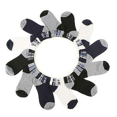 Boys 12 Pairs  Ankle Low Cut Sports Sneaker Gym Socks Set Kids Assorted Ages 6-8
