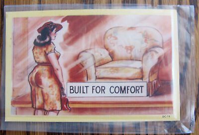 1940s sexist very rude in sleeve postcard Built For Comfort FREE SHIP