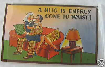 vintage linen uncirculated postcard in plastic sleeve humor sexist Asheville NC