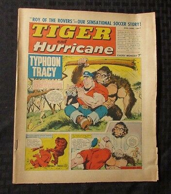 1967 TIGER AND HURRICANE UK Weekly  Comic June 24 FN+ Typhoon Tracy