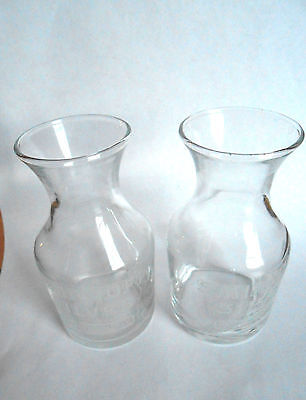 2 Vintage Smirnoff Silver Private Reserve Miniature Advertising Glass Carafes