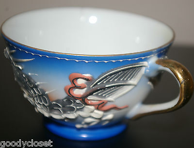 Full Size Lithophane CUP AND SAUCER Bright Blue Eyed Dragonware Lots Of Moriage