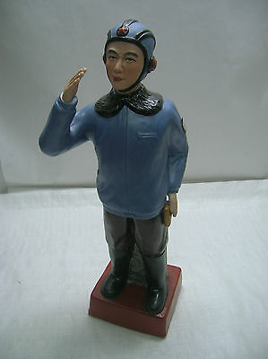 REDUCED -Vintage Plaster Ceramic Military Pilot Statue Figurine Chinese Detailed