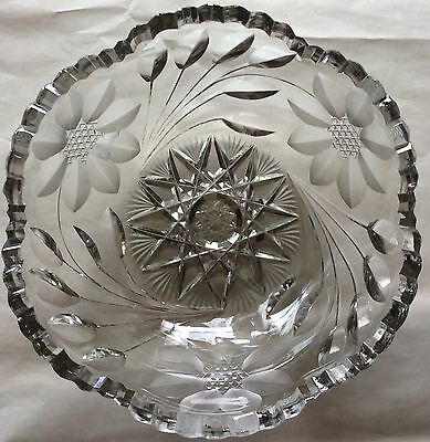 ABP AMERICAN BRILLIANT PERIOD 1890 Hand CUT CRYSTAL BOWL SAW TOOTH EDGE