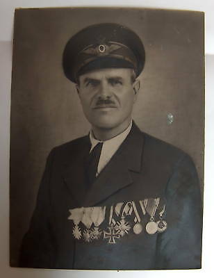 WW1 WWI ROYAL BULGARIAN AIR FORCE PILOT with MEDALS large CABINET REAL PHOTO