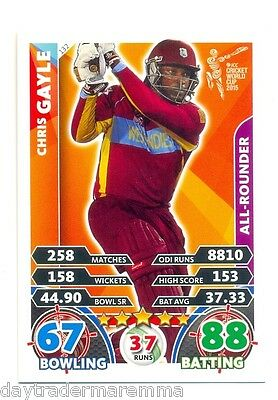 2015 Topps Cricket Attax ICC World Cup #132 Chris Gayle - West Indies