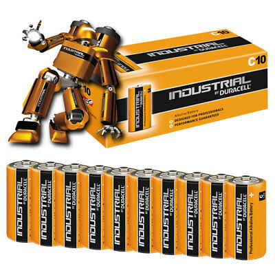 10x Duracell INDUSTRIAL C Cell Alkaline Batteries LR14 MN1400 Replaces Procell C