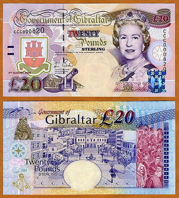 GIBRALTAR 20 pounds 2004 Commemorative QEII P-31, UNC