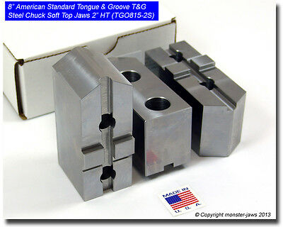 """8"""" American Standard Tongue & Groove T&G Steel Chuck Soft Top Jaws (2.0"""" HT) Set"""