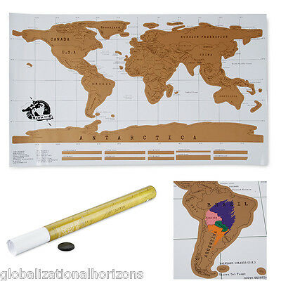 Scratch Off Map World Map Poster Personalized Travel Vacation Personal Log Gift