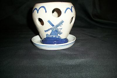 Dutch Theme~Art Pottery~Orchid Flower Pot~Hand Painted~Wind Mill and Birds