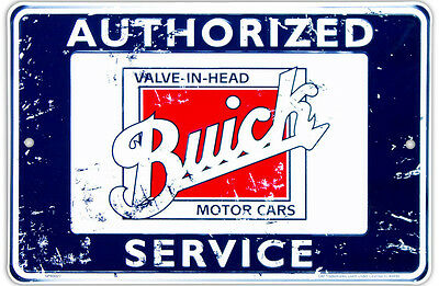 """Buick Authorized Service 8"""" x 12"""" Distressed Metal Embossed Sign"""