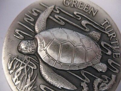 1-Oz .925 Longines Sterling Silver Rare Green Turtle  Coin 3D High Relief + Gold
