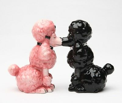 Poodle They Kiss !! Dog Ceramic Salt & Pepper Shakers Set. Magnetic Attached.new