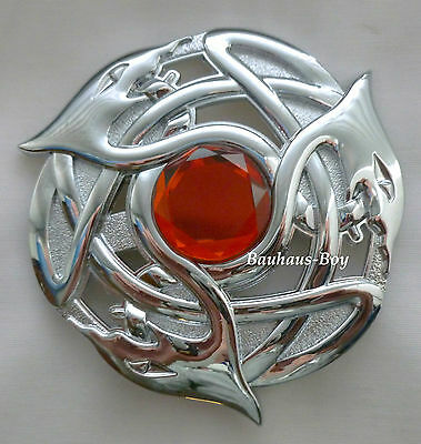 Kilt Plaid Brooch Celtic Highland Serpent Design Chrome Orange Glass Stone New